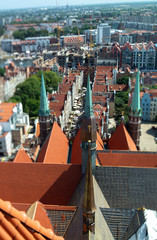 Townscape  with red roofs in old city Gdansk made from top, aerial landscape with tilt-shift effect in summer