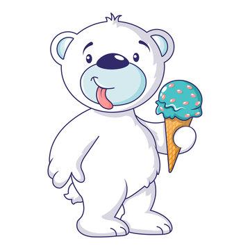 White bear with ice cream icon. Cartoon of white bear with ice cream vector icon for web design isolated on white background