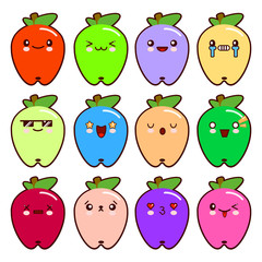 Set of 12 modern emoticons cute cartoon apple with different emotions. Vector Illustration Flat style.