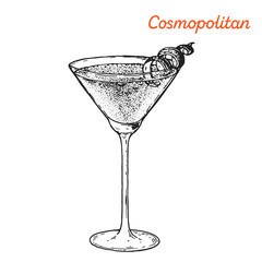 Cosmopolitan cocktail illustration. Alcoholic cocktails hand drawn vector illustration. Sketch style.