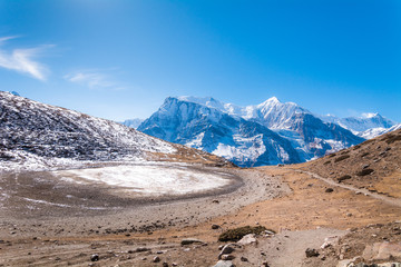 Panoramic view of (from the left) Annapurna III, Gangapurna, Glacier Dome, Annapurna I, Kangshar Kang and Tilicho with small ice pond from way to Ice Lake, Munchi, Annapurna Circuit Trek, Nepal