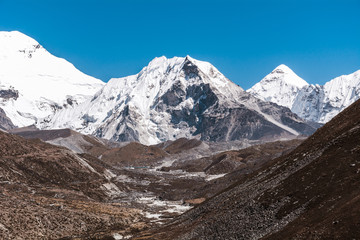 View of Island Peak and Chukhung from Dingboche, Sagarmatha national park, Everest Base Camp 3 Passes Trek, Nepal