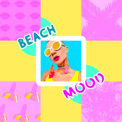 Beach Colorful Girl. Stylish summer accessories. Beach mood collage
