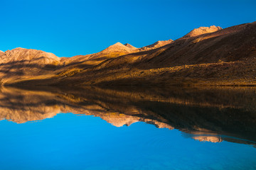 A beautiful view of Gangabal lake reflection in dry season with clear blue sky in a morning from Kashmir The Great Lakes Trek, India.