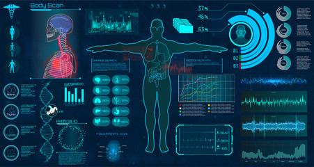 Modern medical examination HUD style. Human body scan ( Anatomy, Ecg monitor, Dna formula, X-ray, Medical Infographic, Data monitors, Statistic and Diagrams )  Medical infographic Hud style (vector)