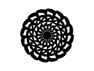 Black abstract mandala on white background. Mandala decor vector element. Round stamp template