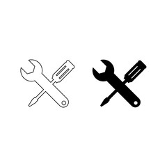 Wrench and screwdriver vector icon