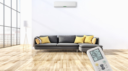 Modern interior apartment with air conditioning and remote control 3D rendering illustration