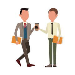 Business teamwork working with documents and coffee vector illustration graphic design