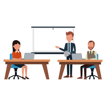 Business meeting exposing with whiteboard vector illustration graphic design