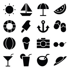 summer icon glyph design set illustration,designed for web and app