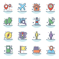navigation icon set, line filled navigation icon style,designed for web and app
