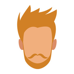 Young man faceless profile vector illustration graphic design