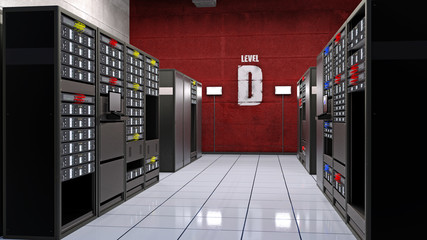 Server room, data center with computer servers in racks, computer facility data storage, 3D rendering