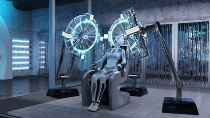Humanoid robot, female android sitting in a chair in a sci-fi lab, cyborg production assembly line, 3D render
