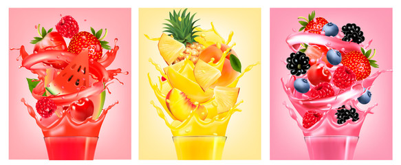 Set of labels with fruit in juice splashes. Strawberry, guava, watermelon, pineapple, peach, raspberry, blackberry, blueberry. Vector.