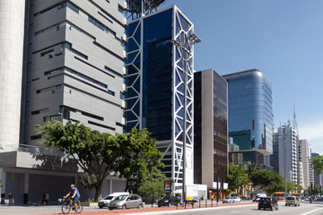 Main avenue in São Paulo with high rise buildings