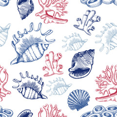 Seamless pattern with shells and corals. Sketch style. Vector
