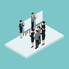 Executives at business meeting isometric concept vector illustration graphic design