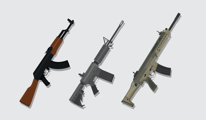 a comparison betweekn main riffle from russia, german, and america