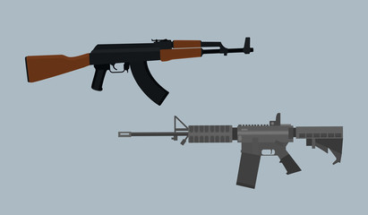 compare usa vs russian ak vs m4 asssault riffle vector illustration