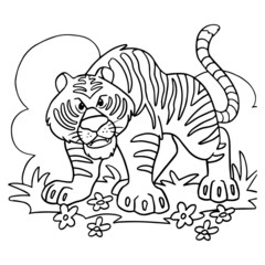 Cute tiger cartoon illustration isolated on white background for children color book