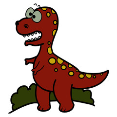 Tyrannosaurus cartoon illustration isolated on white background for children color book