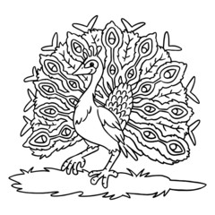 Cute peacock cartoon illustration isolated on white background for children color book