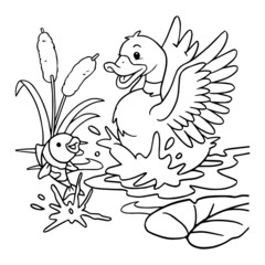 Cute duck cartoon illustration isolated on white background for children color book