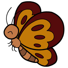 Cute butterfly cartoon illustration isolated on white background for children color book