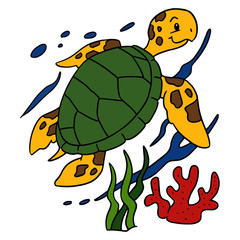 Cute turtle cartoon illustration isolated on white background for children color book