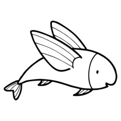 Flying Fish cartoon illustration isolated on white background for children color book