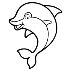Cute dolphin cartoon illustration isolated on white background for children color book