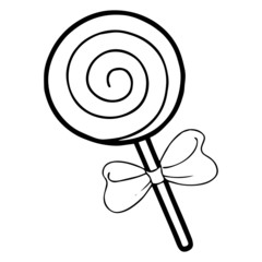 Lollipop cartoon illustration isolated on white background for children color book