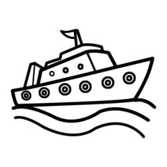 Battleship cartoon illustration isolated on white background for children color book