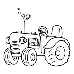 Cute tractor cartoon illustration isolated on white background for children color book