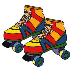 Roller skate cartoon illustration isolated on white background for children color book