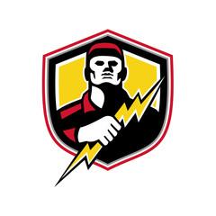 Electrician Thunderbolt Crest Mascot
