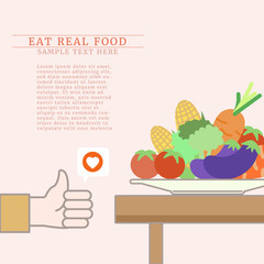 Love vegetables, healthy food choice, you are what you eat concept