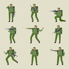 Soldier character icons in various poses. flat design style vector graphic illustration set
