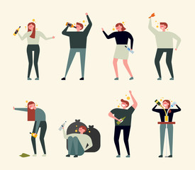 Various aspects of people drinking alcohol. flat design style vector graphic illustration set