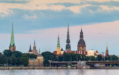 View on historical center of Riga - the capital of Latvia and the largest city of Baltic region widely known by its unique medieval and Gothic architecture