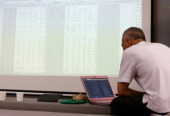 An investor looks at a screen showing stock board information at a securities company in Hanoi, Vietnam