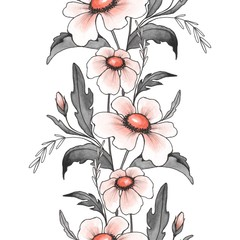 Floral seamless pattern 9. Watercolor background with white flowers. Ink and watercolor