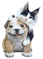 Fluffy cat embracing French bulldog. Watercolor drawing