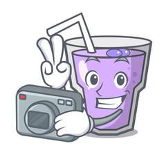 Photographer berry smoothie mascot cartoon