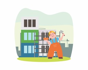 construction worker foreman builder construction site engineer contractor cartoon character