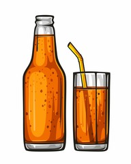 Vector colorful illustration glass of soda with straw and glass bottle filled with orange beverage. Sparkling water, drink 1.1