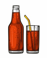 Vector colorful illustration glass of soda with straw and glass bottle filled with red beverage. Sparkling water, drink 1.1