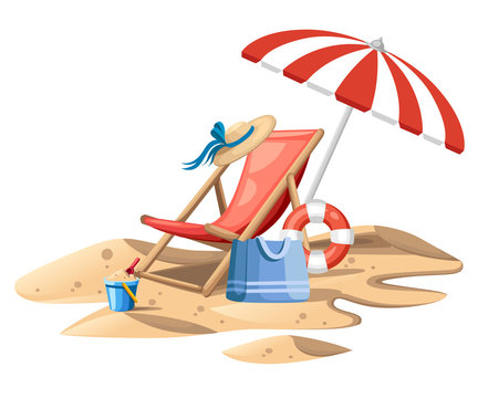 Bucket and spade. Red beach chair with umbrella. Wooden chair and plastic toy on sand. Summer icon. Flat vector illustration on white background. Travel concept design for website or advertising